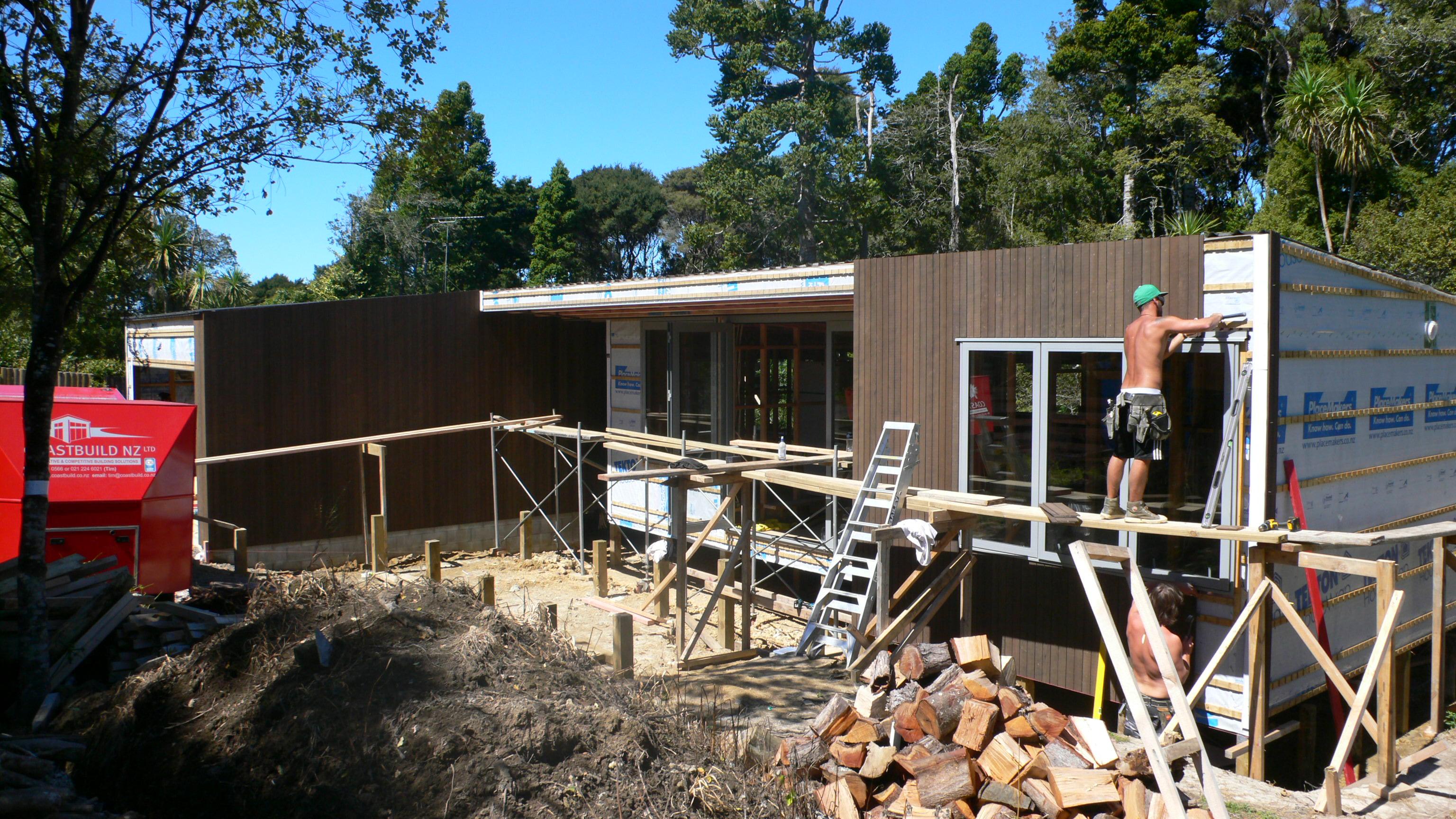 Northcote home under construction cedar cladding installed