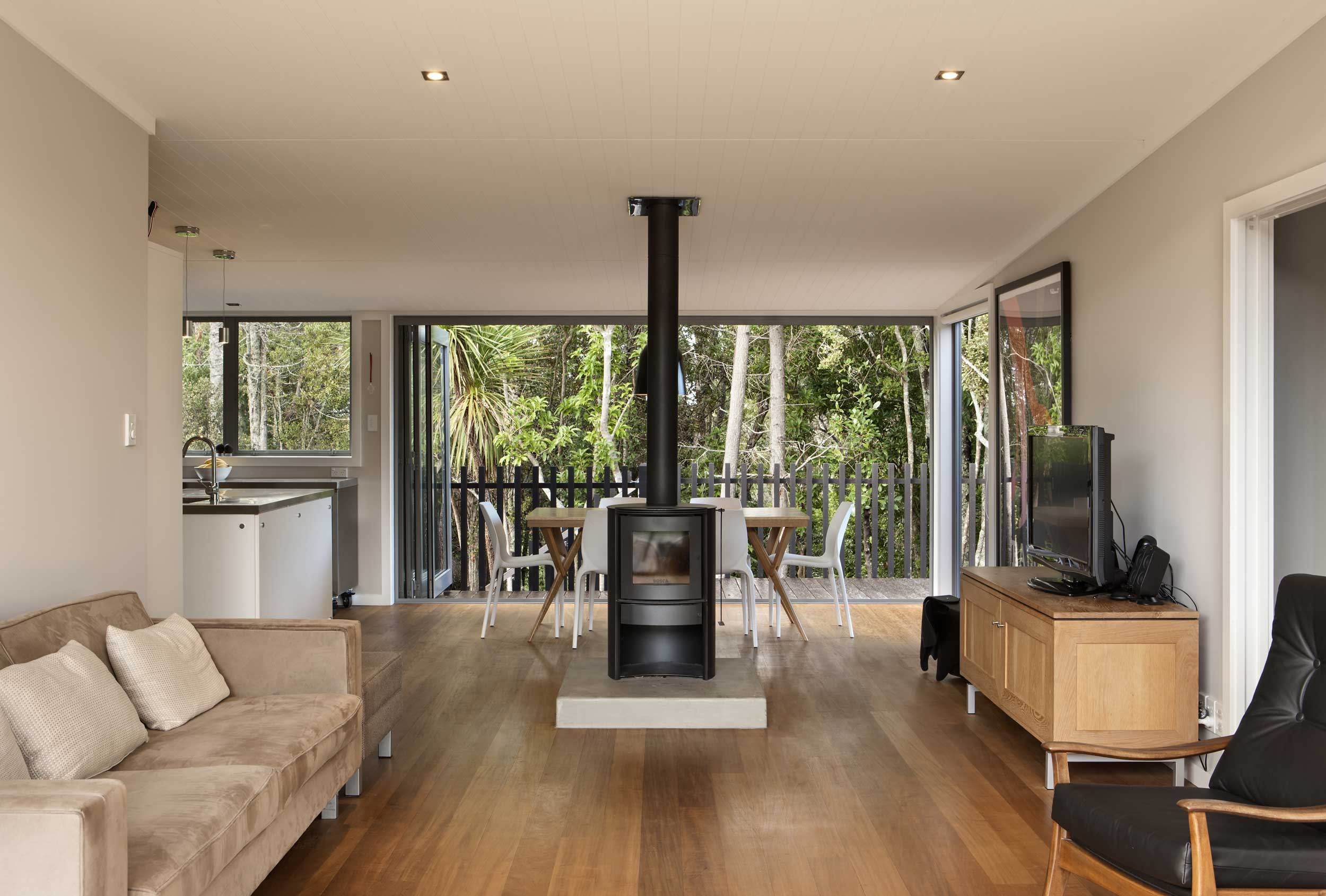 North shore architect house fireplace timber floors