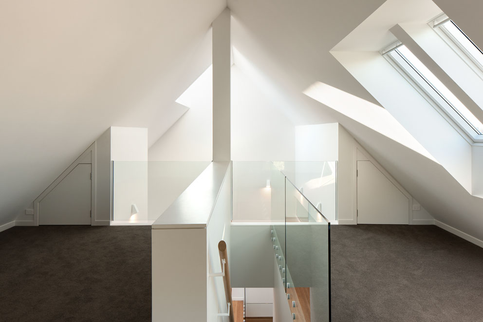 Mezzanine floor skylights glass balustrade roof space