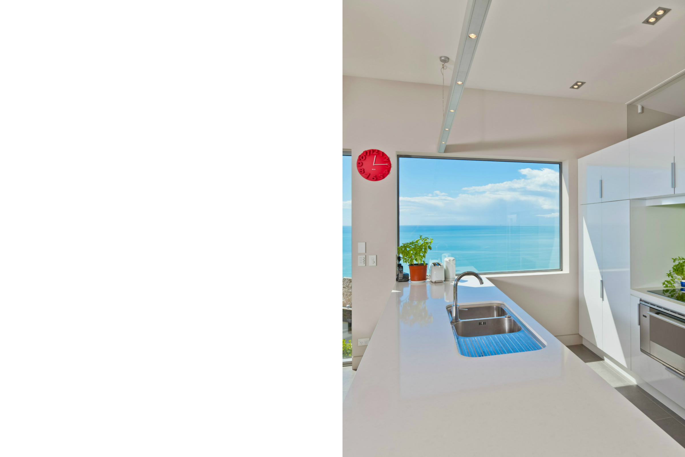 Sea views white kitchen