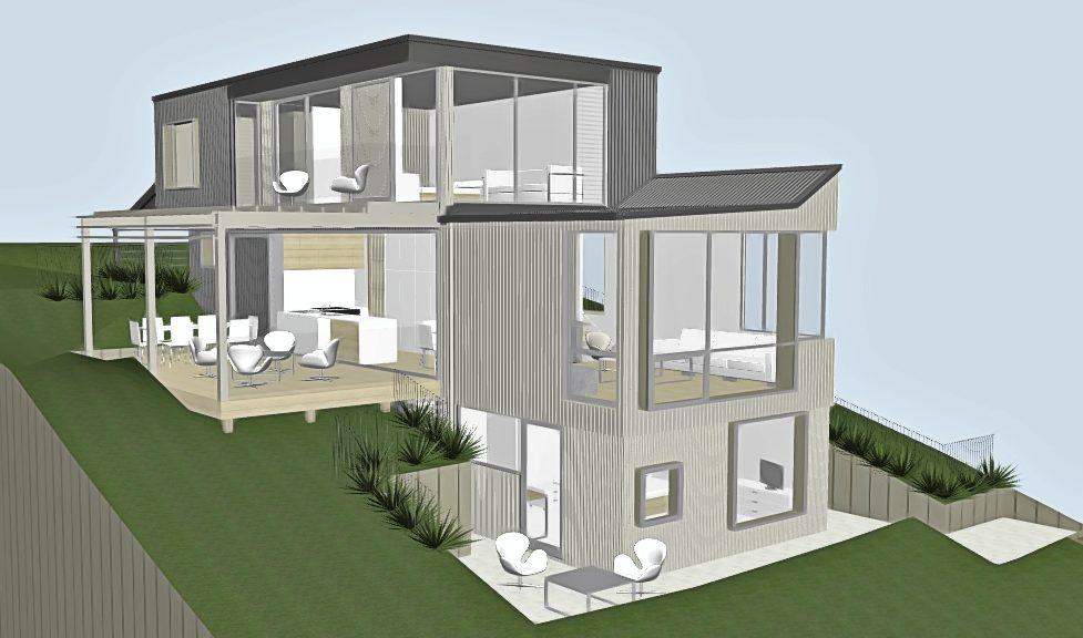 Waiheke architect house cedar cladding pergola