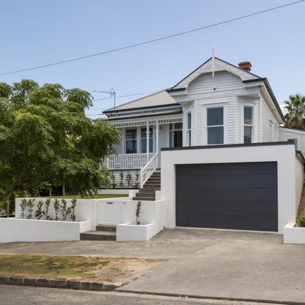 Grey Lynn villa renovation new landscaping double garage