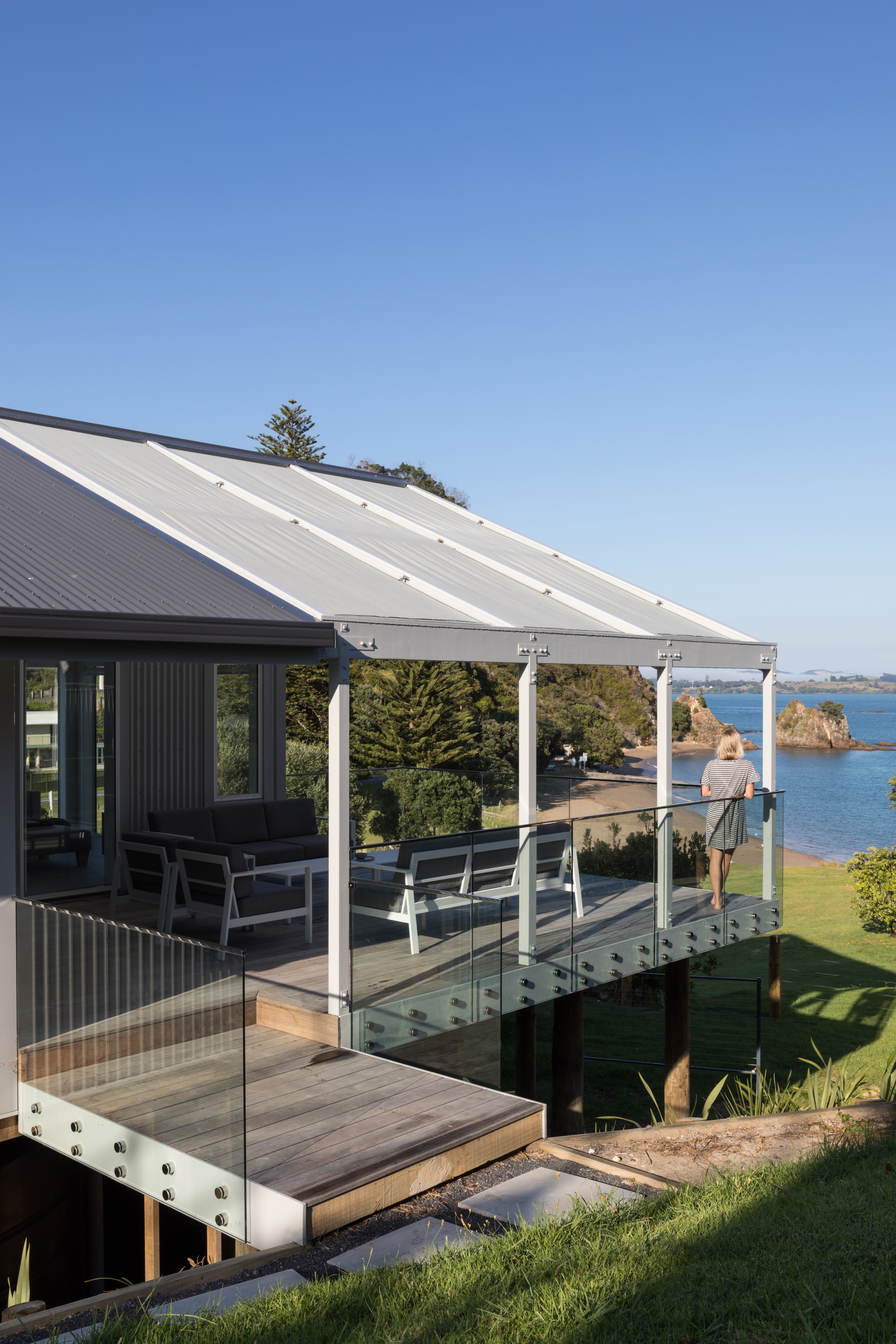 Outdoor deck facing the ocean at Tapeka Point, Bay of Islands