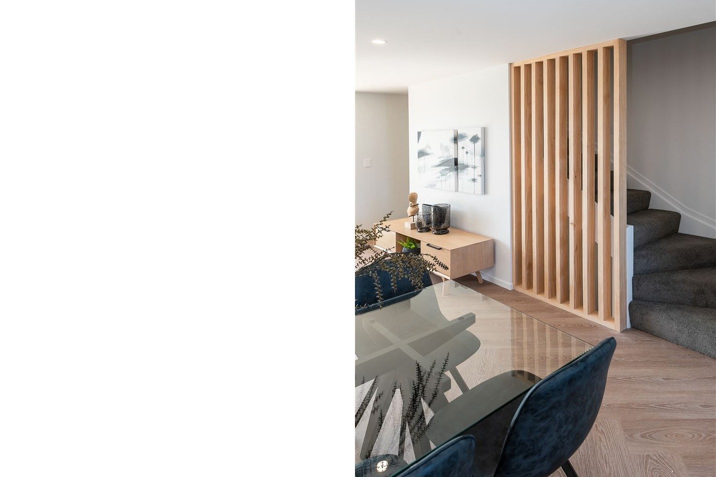 Exposed timber screen in multi-residential stair detail