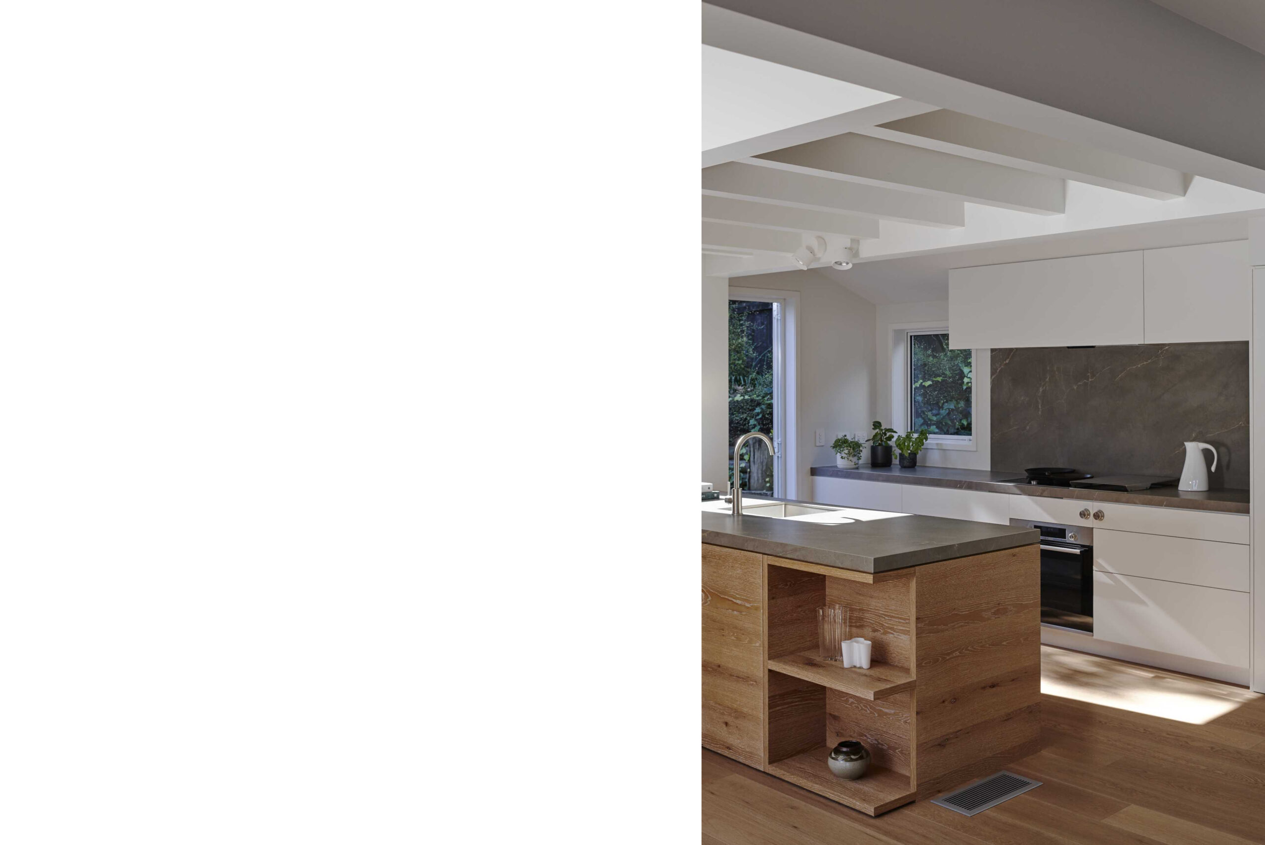 Open plan kitchen with and exposed beams